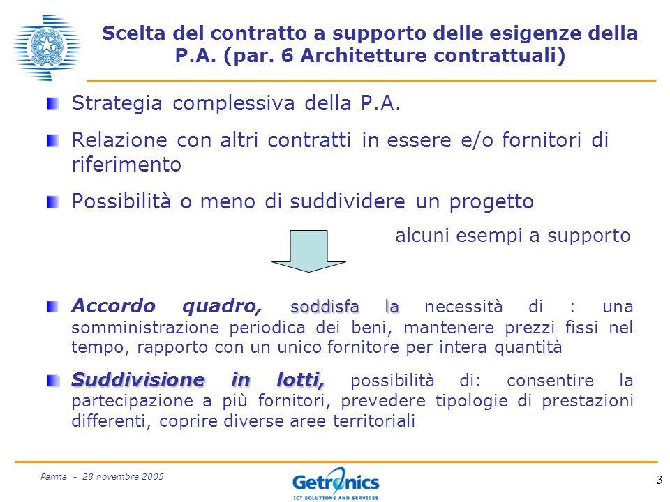 3 Parma - 28 novembre 2005 Scelta del contratto a supporto delle esigenze della P.A.