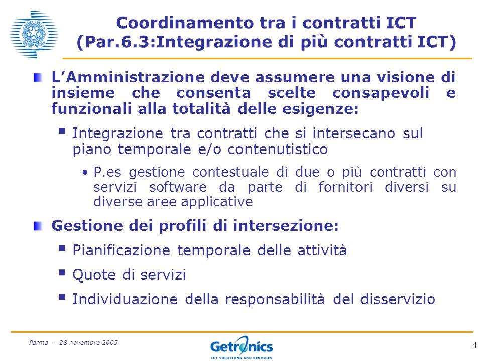 4 Parma - 28 novembre 2005 Coordinamento tra i contratti ICT (Par.6.3:Integrazione di più contratti ICT) LAmministrazione deve assumere una visione di insieme che consenta scelte consapevoli e funzionali alla totalità delle esigenze: Integrazione tra contratti che si intersecano sul piano temporale e/o contenutistico P.es gestione contestuale di due o più contratti con servizi software da parte di fornitori diversi su diverse aree applicative Gestione dei profili di intersezione: Pianificazione temporale delle attività Quote di servizi Individuazione della responsabilità del disservizio