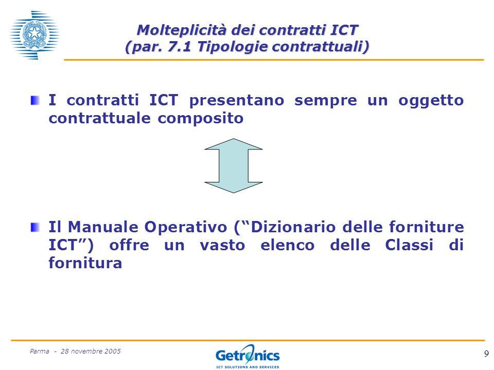 9 Parma - 28 novembre 2005 Molteplicità dei contratti ICT (par.
