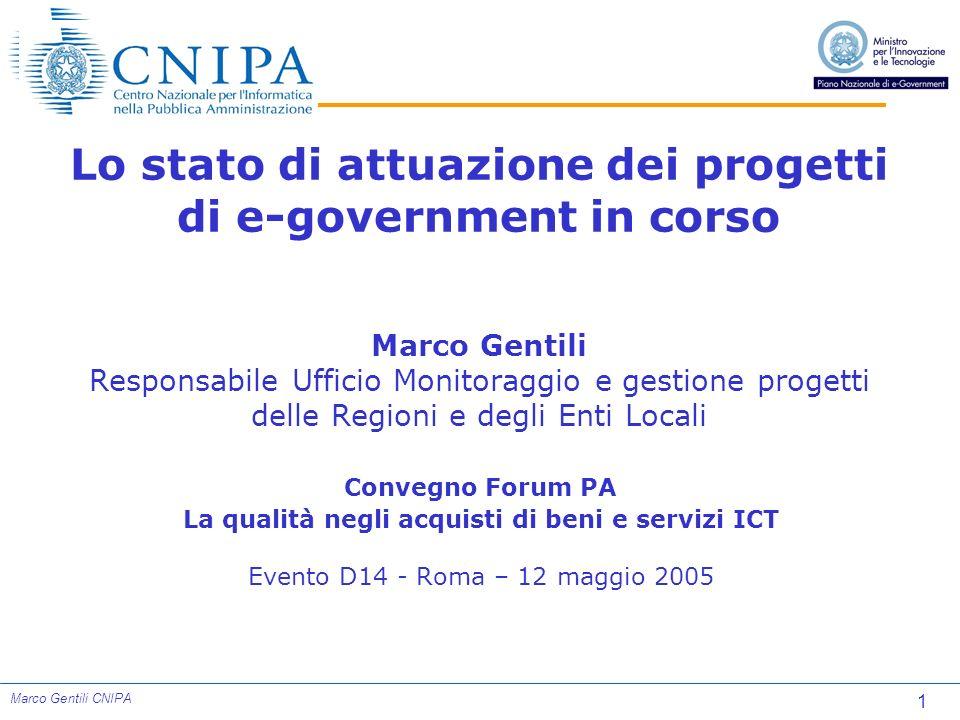 1 Marco Gentili CNIPA Lo stato di attuazione dei progetti di e-government in corso Marco Gentili Responsabile Ufficio Monitoraggio e gestione progetti