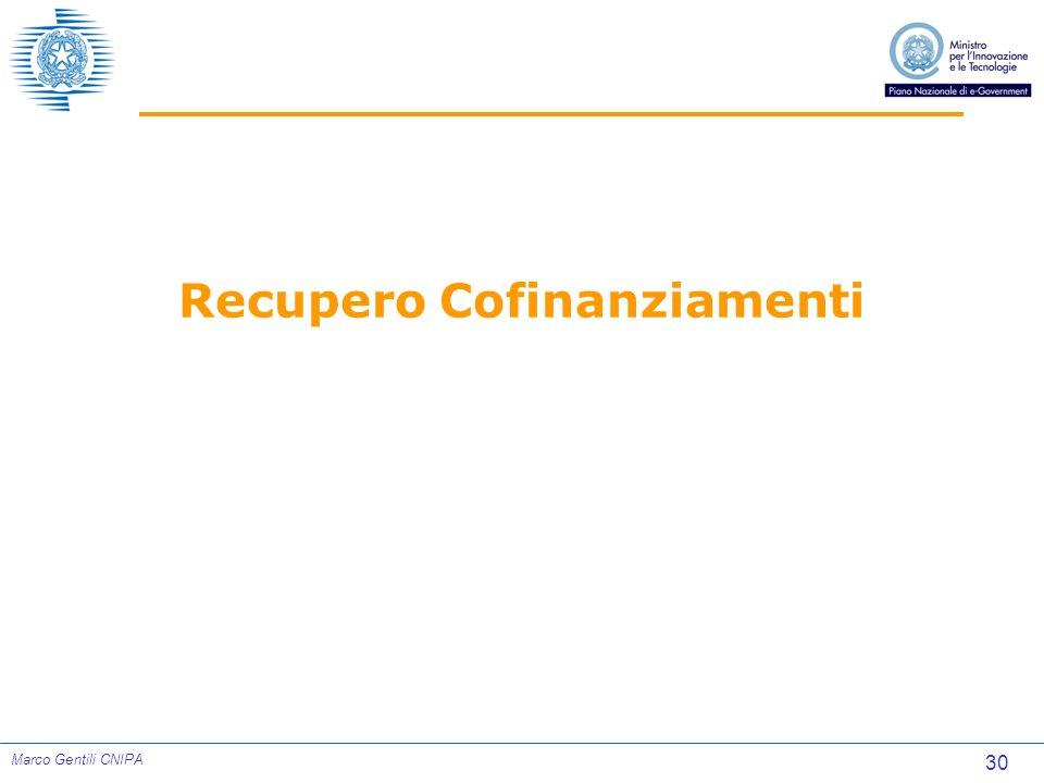 30 Marco Gentili CNIPA Recupero Cofinanziamenti