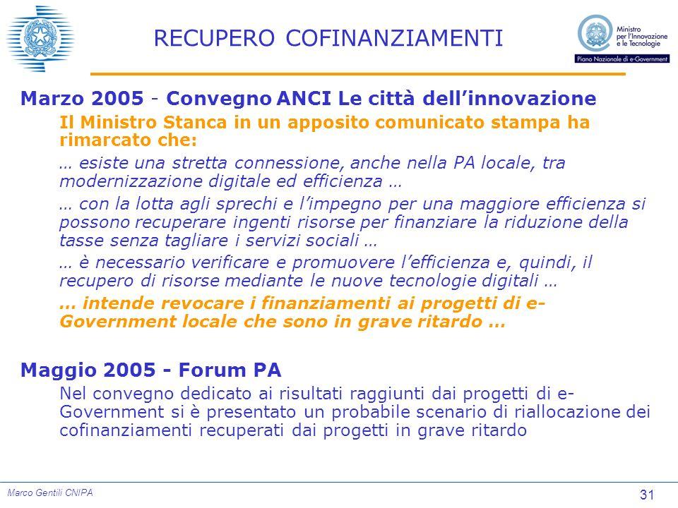31 Marco Gentili CNIPA RECUPERO COFINANZIAMENTI Marzo 2005 - Convegno ANCI Le città dellinnovazione Il Ministro Stanca in un apposito comunicato stamp