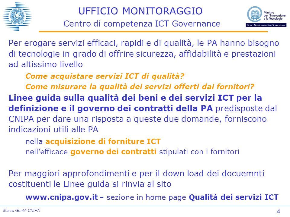 5 Marco Gentili CNIPA UFFICIO MONITORAGGIO Centro di competenza ICT Governance Le Linee Guida sono articolate in una collana di 6 Manuali, tre dei quali supportano i passi operativi fondamentali della definizione della qualità della fornitura
