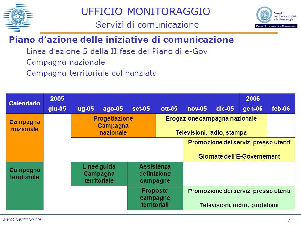 7 Marco Gentili CNIPA UFFICIO MONITORAGGIO Servizi di comunicazione Piano dazione delle iniziative di comunicazione Linea dazione 5 della II fase del
