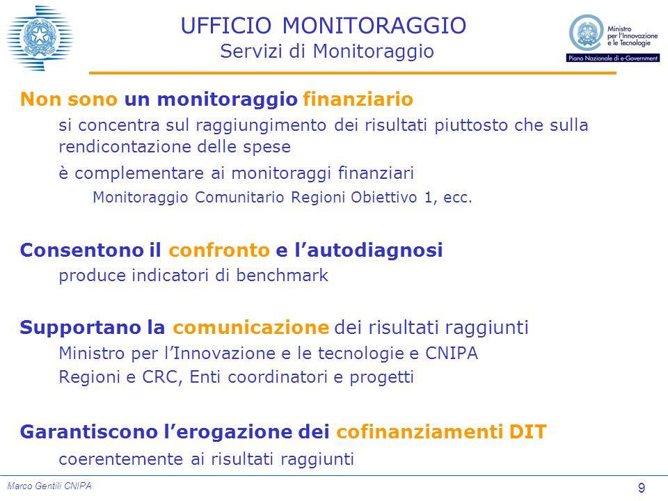 9 Marco Gentili CNIPA UFFICIO MONITORAGGIO Servizi di Monitoraggio Non sono un monitoraggio finanziario si concentra sul raggiungimento dei risultati