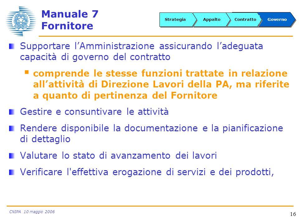CNIPA 10 maggio 2006 16 Manuale 7 Fornitore Supportare lAmministrazione assicurando ladeguata capacità di governo del contratto comprende le stesse fu