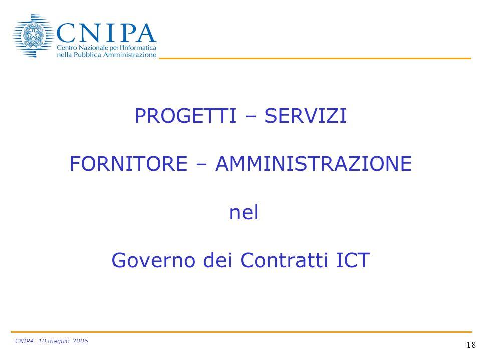 CNIPA 10 maggio 2006 18 PROGETTI – SERVIZI FORNITORE – AMMINISTRAZIONE nel Governo dei Contratti ICT