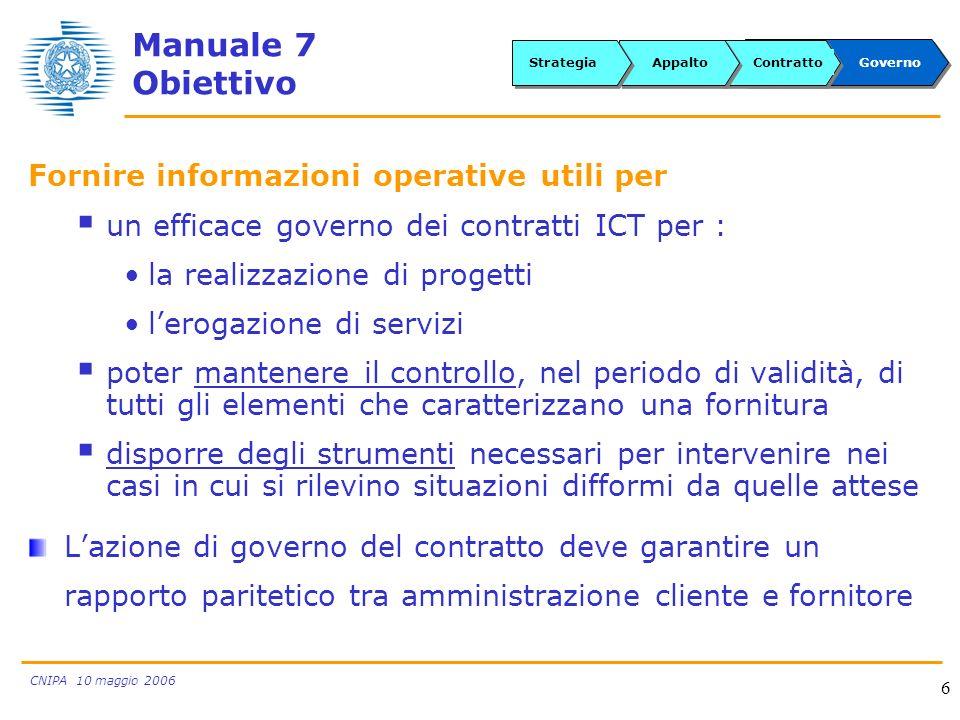 CNIPA 10 maggio 2006 6 Fornire informazioni operative utili per un efficace governo dei contratti ICT per : la realizzazione di progetti lerogazione d