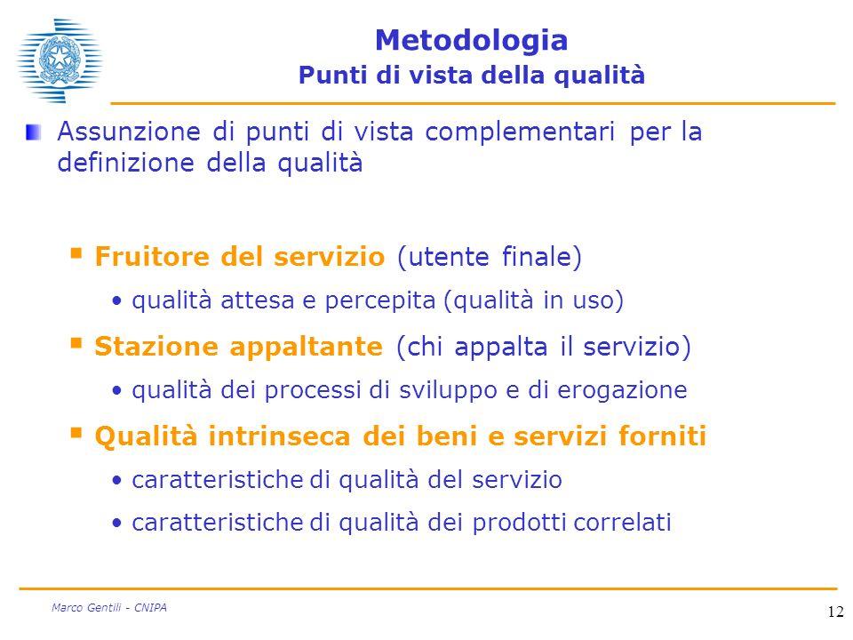 12 Marco Gentili - CNIPA Metodologia Punti di vista della qualità Assunzione di punti di vista complementari per la definizione della qualità Fruitore