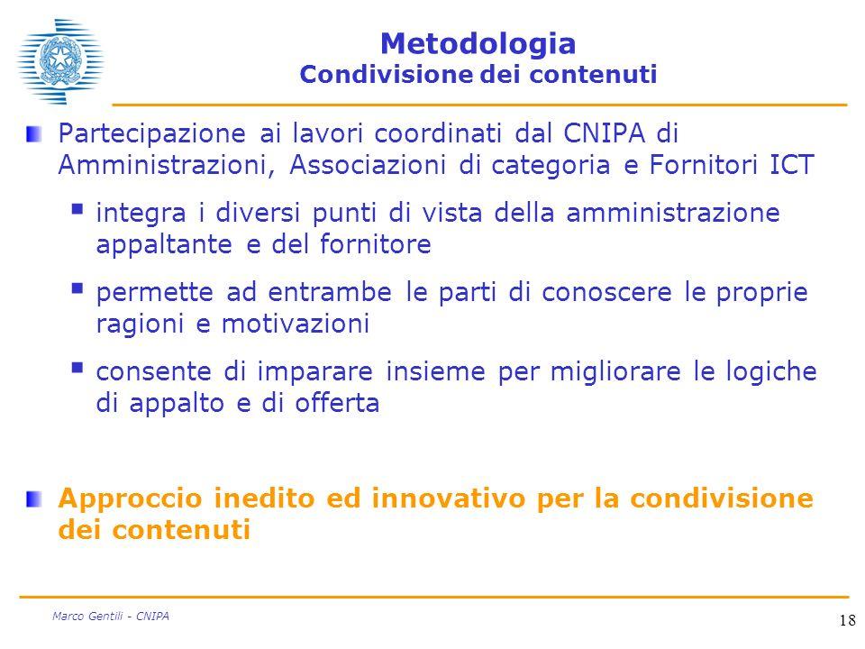18 Marco Gentili - CNIPA Metodologia Condivisione dei contenuti Partecipazione ai lavori coordinati dal CNIPA di Amministrazioni, Associazioni di cate