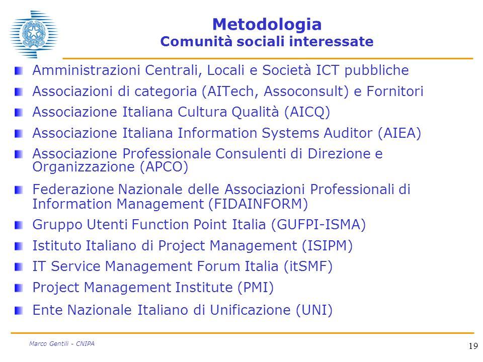 19 Marco Gentili - CNIPA Metodologia Comunità sociali interessate Amministrazioni Centrali, Locali e Società ICT pubbliche Associazioni di categoria (