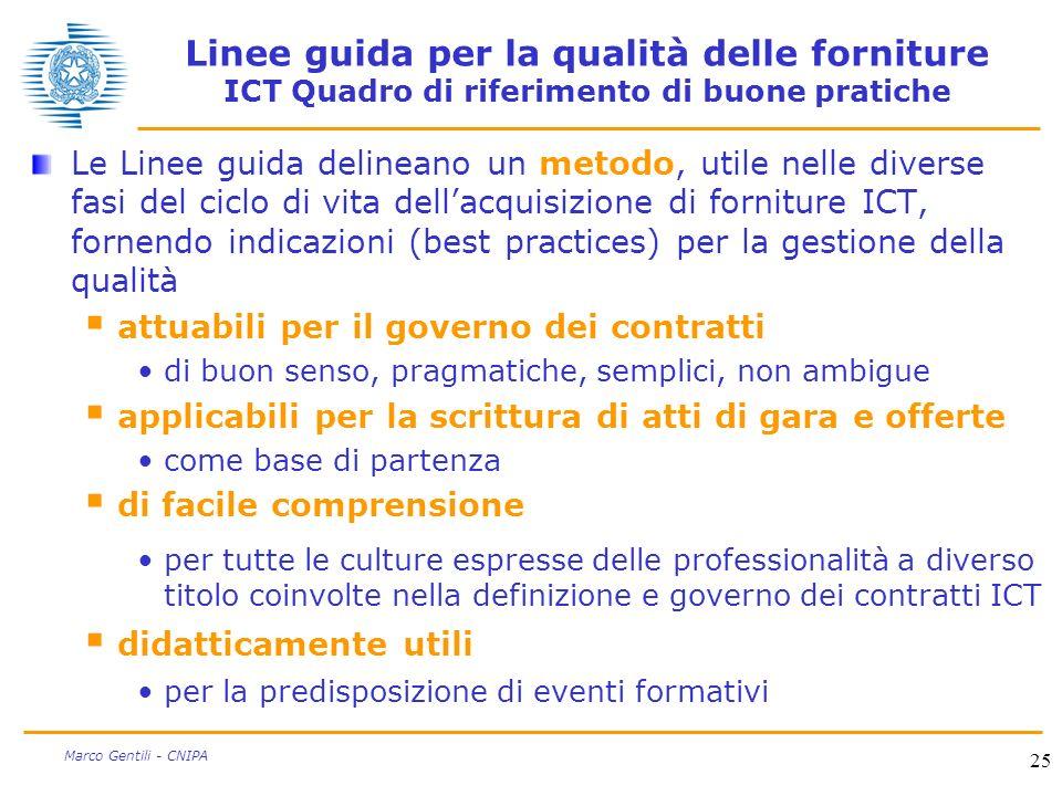25 Marco Gentili - CNIPA Linee guida per la qualità delle forniture ICT Quadro di riferimento di buone pratiche Le Linee guida delineano un metodo, ut