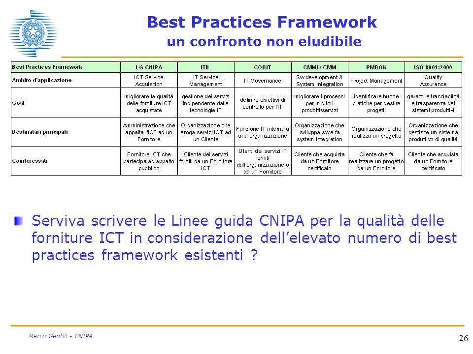 26 Marco Gentili - CNIPA Best Practices Framework un confronto non eludibile Serviva scrivere le Linee guida CNIPA per la qualità delle forniture ICT