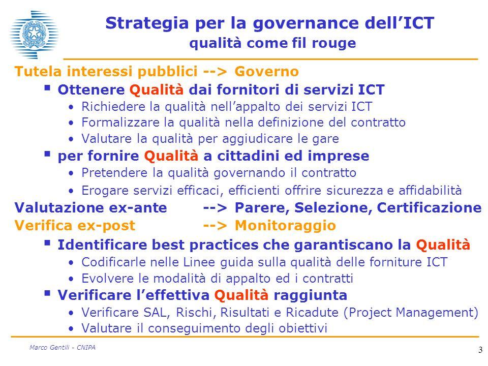 3 Marco Gentili - CNIPA Strategia per la governance dellICT qualità come fil rouge Tutela interessi pubblici-->Governo Ottenere Qualità dai fornitori