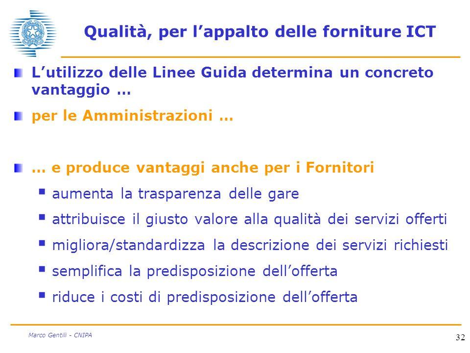 32 Marco Gentili - CNIPA Qualità, per lappalto delle forniture ICT Lutilizzo delle Linee Guida determina un concreto vantaggio … per le Amministrazion