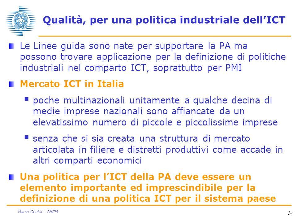 34 Marco Gentili - CNIPA Qualità, per una politica industriale dellICT Le Linee guida sono nate per supportare la PA ma possono trovare applicazione p