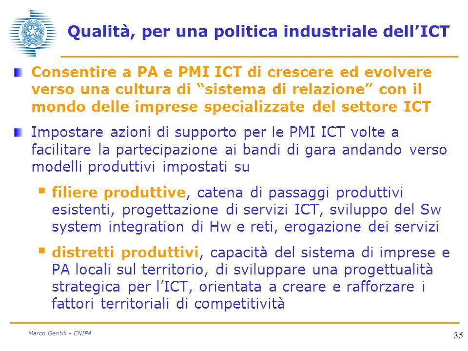 35 Marco Gentili - CNIPA Qualità, per una politica industriale dellICT Consentire a PA e PMI ICT di crescere ed evolvere verso una cultura di sistema