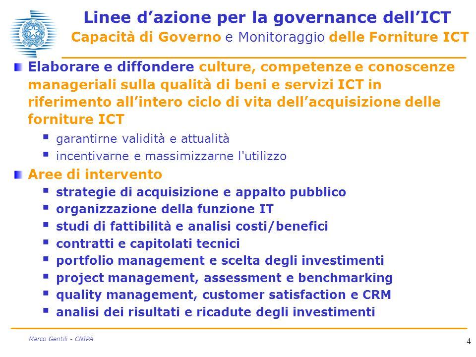 4 Marco Gentili - CNIPA Linee dazione per la governance dellICT Capacità di Governo e Monitoraggio delle Forniture ICT Elaborare e diffondere culture,