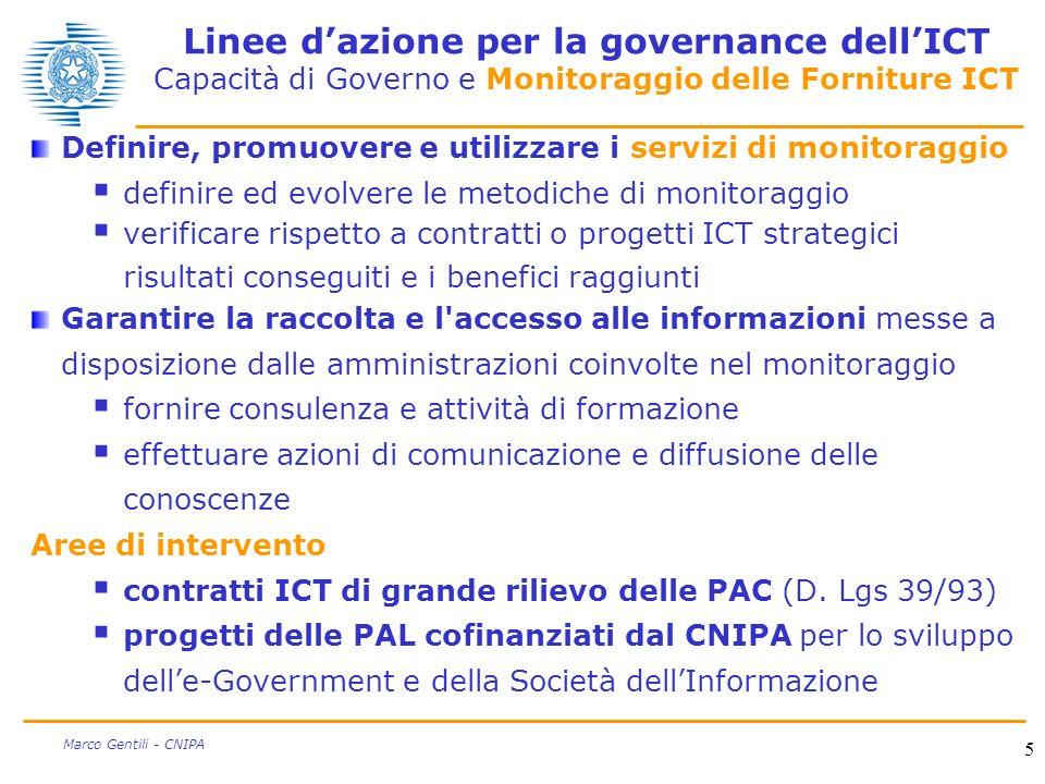 5 Marco Gentili - CNIPA Linee dazione per la governance dellICT Capacità di Governo e Monitoraggio delle Forniture ICT Definire, promuovere e utilizza