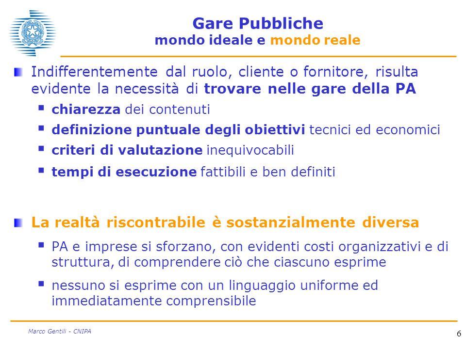 6 Marco Gentili - CNIPA Gare Pubbliche mondo ideale e mondo reale Indifferentemente dal ruolo, cliente o fornitore, risulta evidente la necessità di t