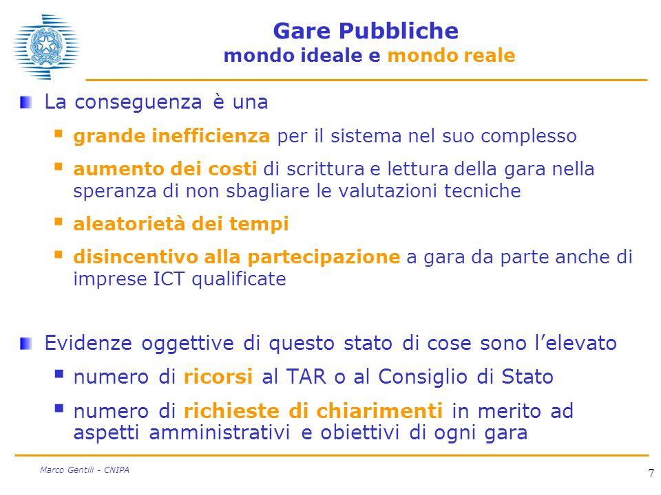 7 Marco Gentili - CNIPA Gare Pubbliche mondo ideale e mondo reale La conseguenza è una grande inefficienza per il sistema nel suo complesso aumento de