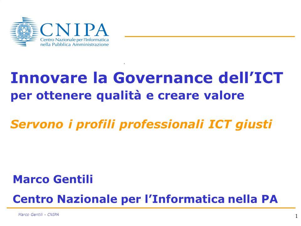 1 Marco Gentili - CNIPA Innovare la Governance dellICT per ottenere qualità e creare valore Servono i profili professionali ICT giusti Marco Gentili Centro Nazionale per lInformatica nella PA