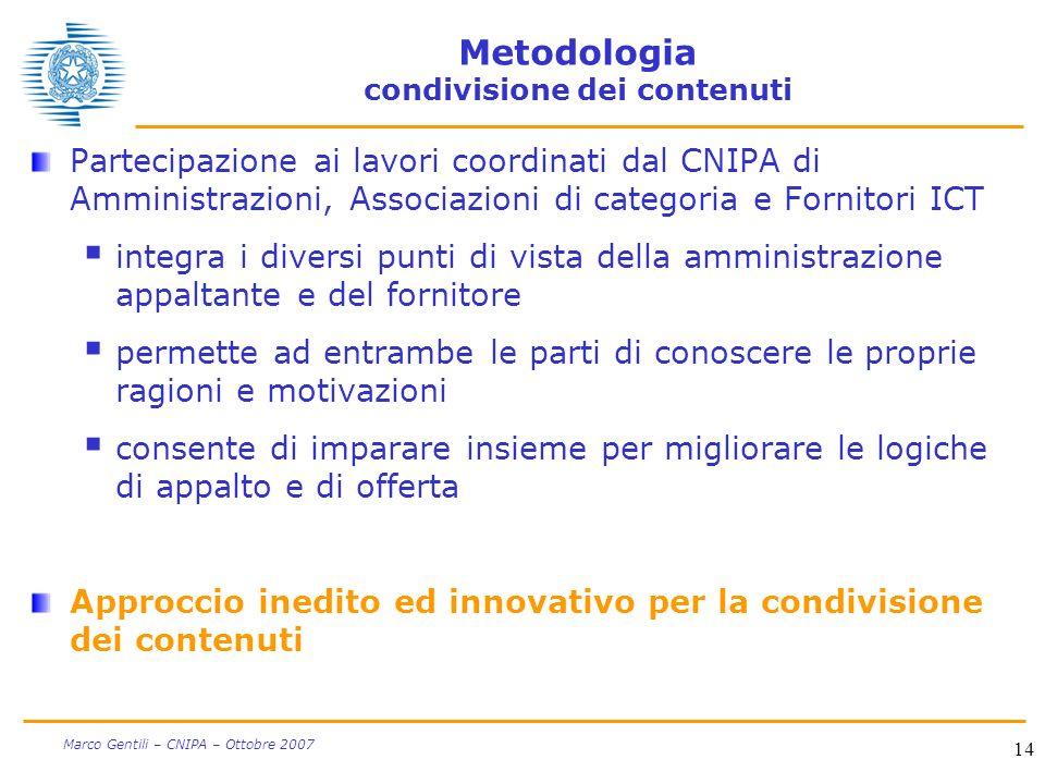 14 Marco Gentili – CNIPA – Ottobre 2007 Metodologia condivisione dei contenuti Partecipazione ai lavori coordinati dal CNIPA di Amministrazioni, Assoc