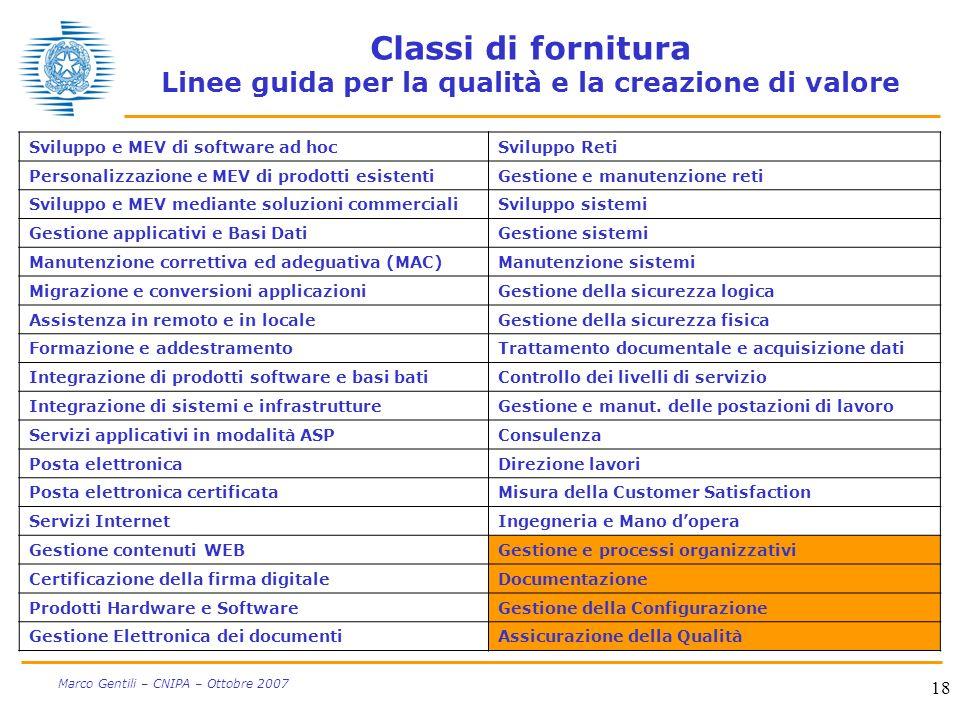 18 Marco Gentili – CNIPA – Ottobre 2007 Classi di fornitura Linee guida per la qualità e la creazione di valore Sviluppo e MEV di software ad hocSvilu