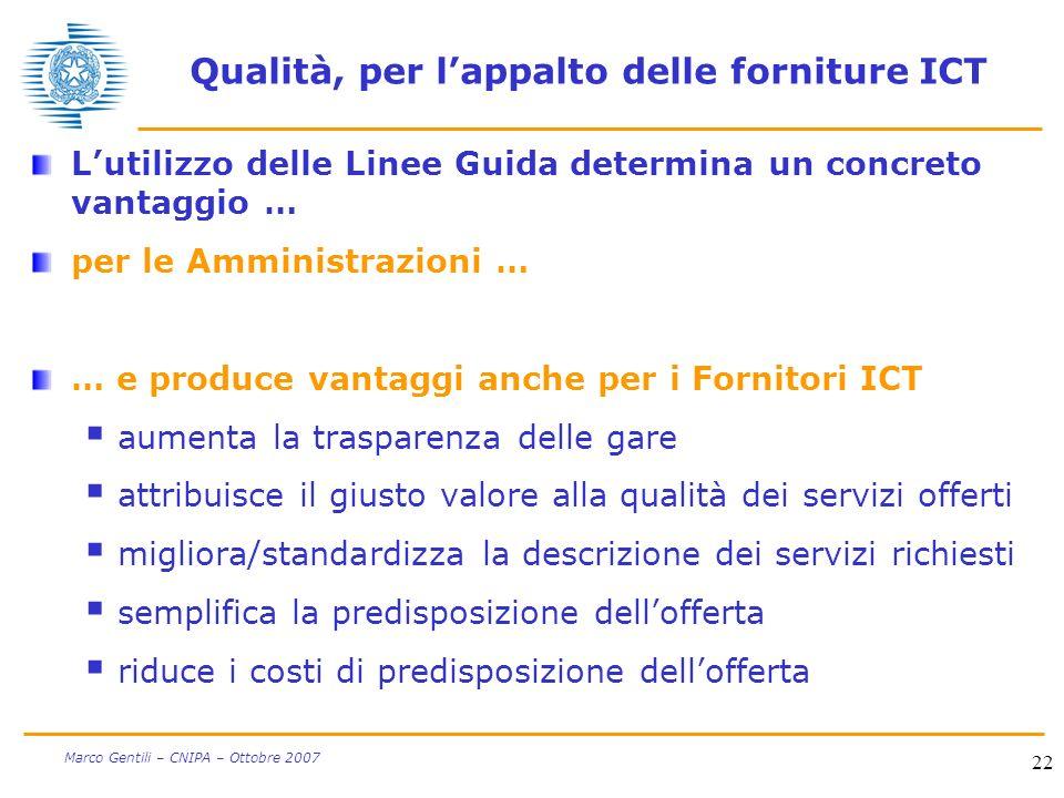 22 Marco Gentili – CNIPA – Ottobre 2007 Qualità, per lappalto delle forniture ICT Lutilizzo delle Linee Guida determina un concreto vantaggio … per le