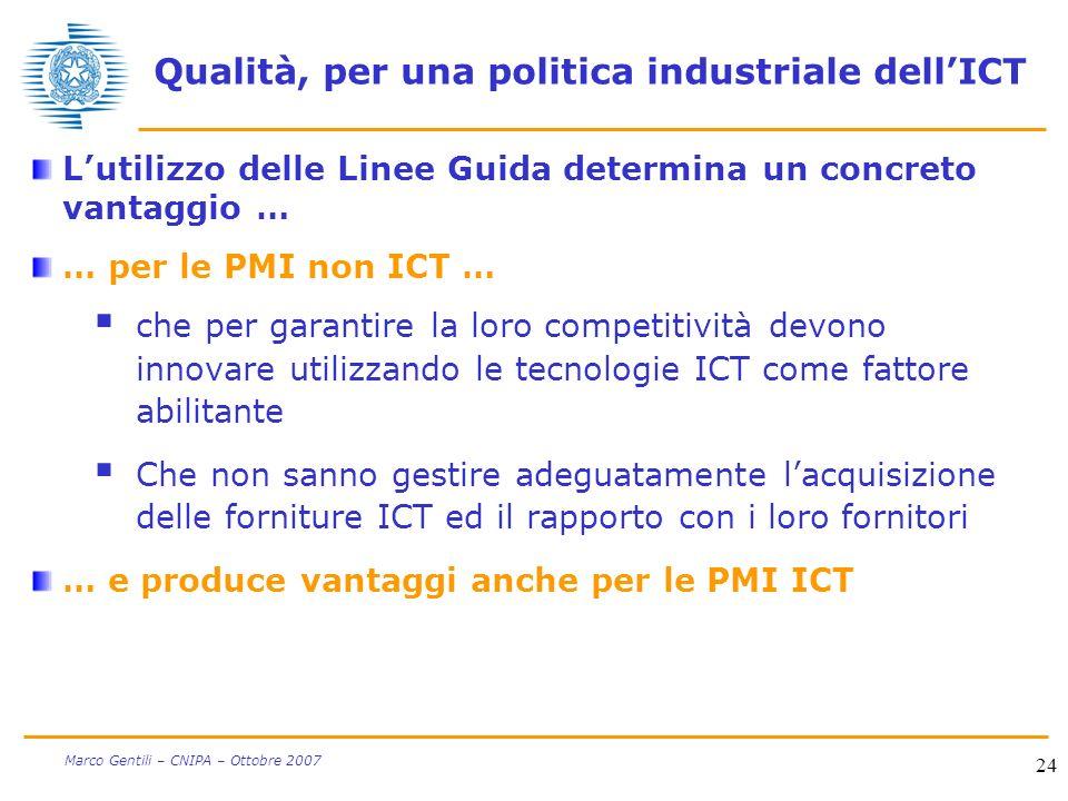 24 Marco Gentili – CNIPA – Ottobre 2007 Qualità, per una politica industriale dellICT Lutilizzo delle Linee Guida determina un concreto vantaggio … …