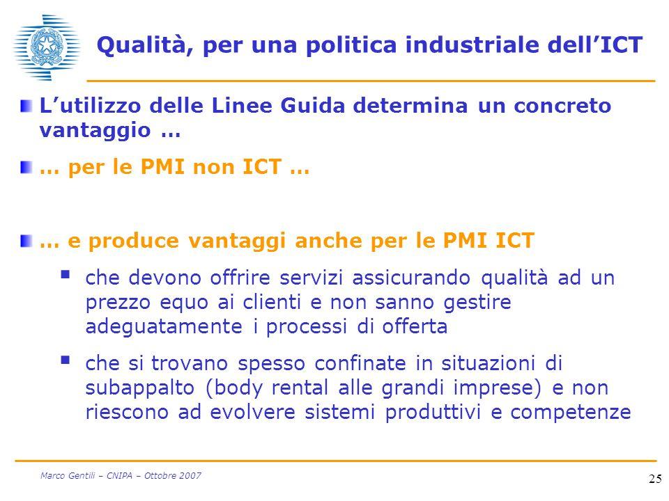 25 Marco Gentili – CNIPA – Ottobre 2007 Qualità, per una politica industriale dellICT Lutilizzo delle Linee Guida determina un concreto vantaggio … …