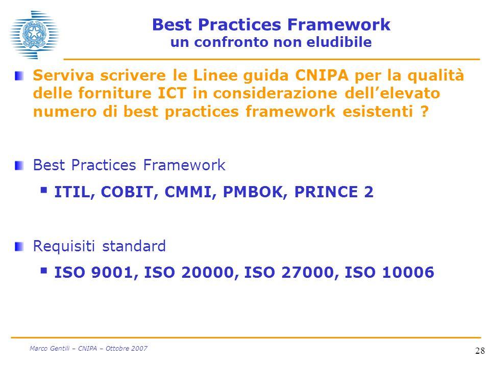 28 Marco Gentili – CNIPA – Ottobre 2007 Best Practices Framework un confronto non eludibile Serviva scrivere le Linee guida CNIPA per la qualità delle