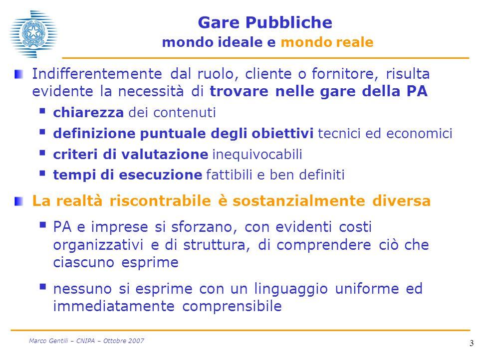3 Marco Gentili – CNIPA – Ottobre 2007 Gare Pubbliche mondo ideale e mondo reale Indifferentemente dal ruolo, cliente o fornitore, risulta evidente la