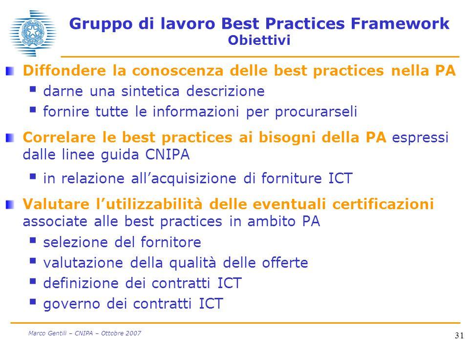 31 Marco Gentili – CNIPA – Ottobre 2007 Gruppo di lavoro Best Practices Framework Obiettivi Diffondere la conoscenza delle best practices nella PA dar