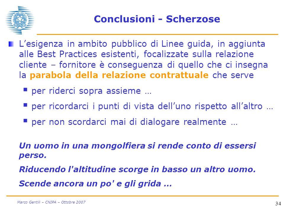 34 Marco Gentili – CNIPA – Ottobre 2007 Conclusioni - Scherzose Lesigenza in ambito pubblico di Linee guida, in aggiunta alle Best Practices esistenti