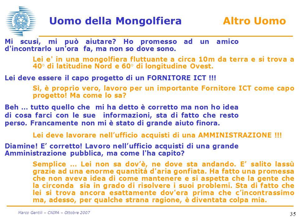35 Marco Gentili – CNIPA – Ottobre 2007 Uomo della Mongolfiera Altro Uomo Mi scusi, mi può aiutare? Ho promesso ad un amico d'incontrarlo un'ora fa, m