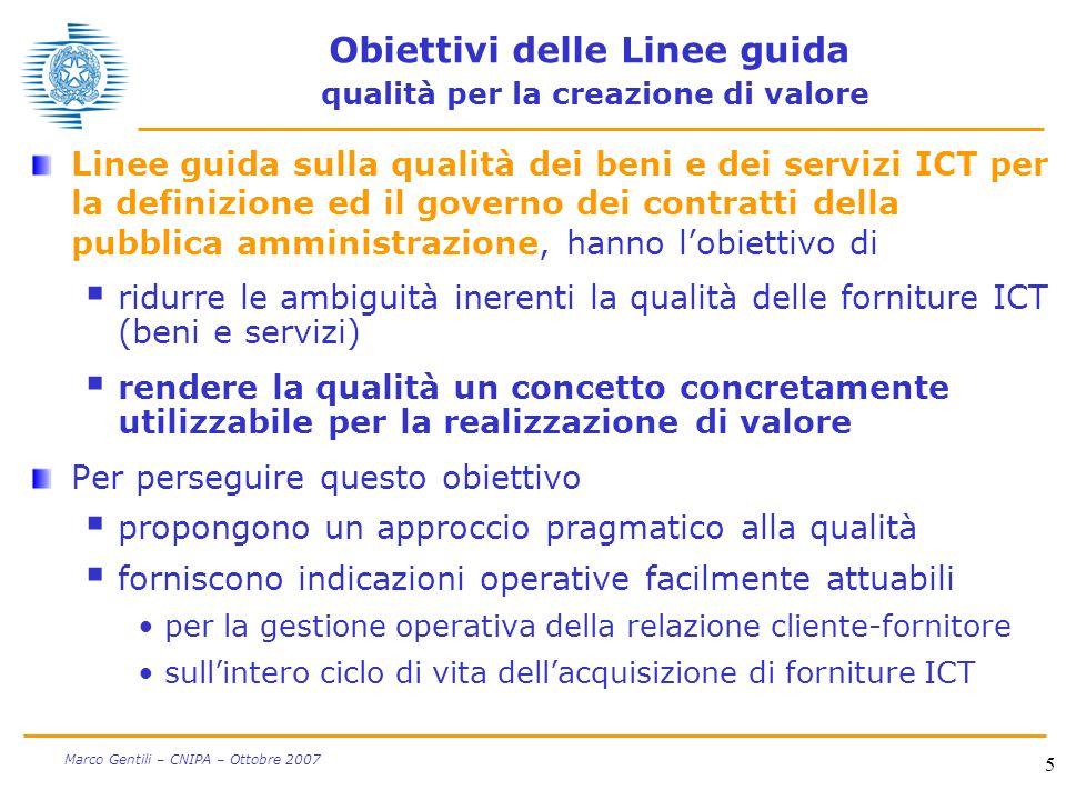 5 Marco Gentili – CNIPA – Ottobre 2007 Obiettivi delle Linee guida qualità per la creazione di valore Linee guida sulla qualità dei beni e dei servizi
