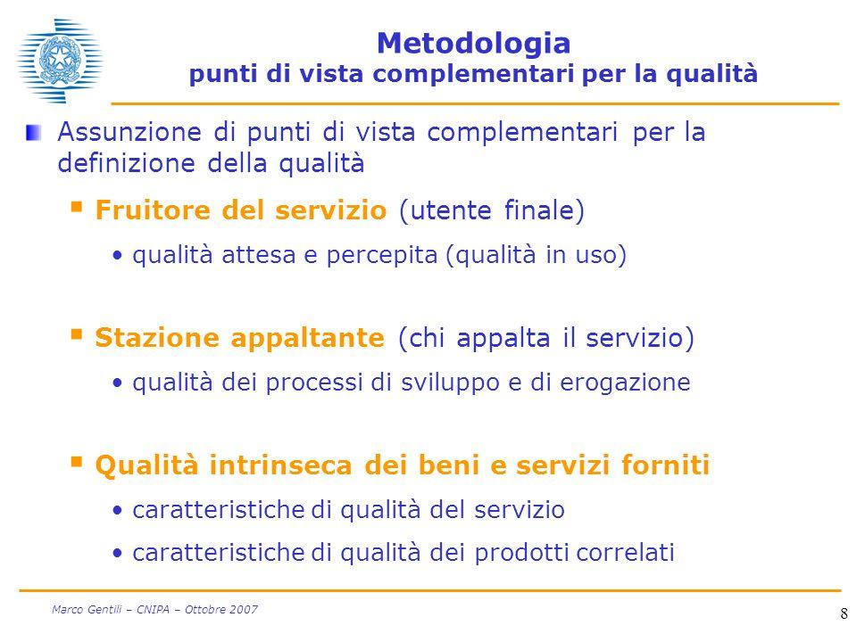 8 Marco Gentili – CNIPA – Ottobre 2007 Metodologia punti di vista complementari per la qualità Assunzione di punti di vista complementari per la defin