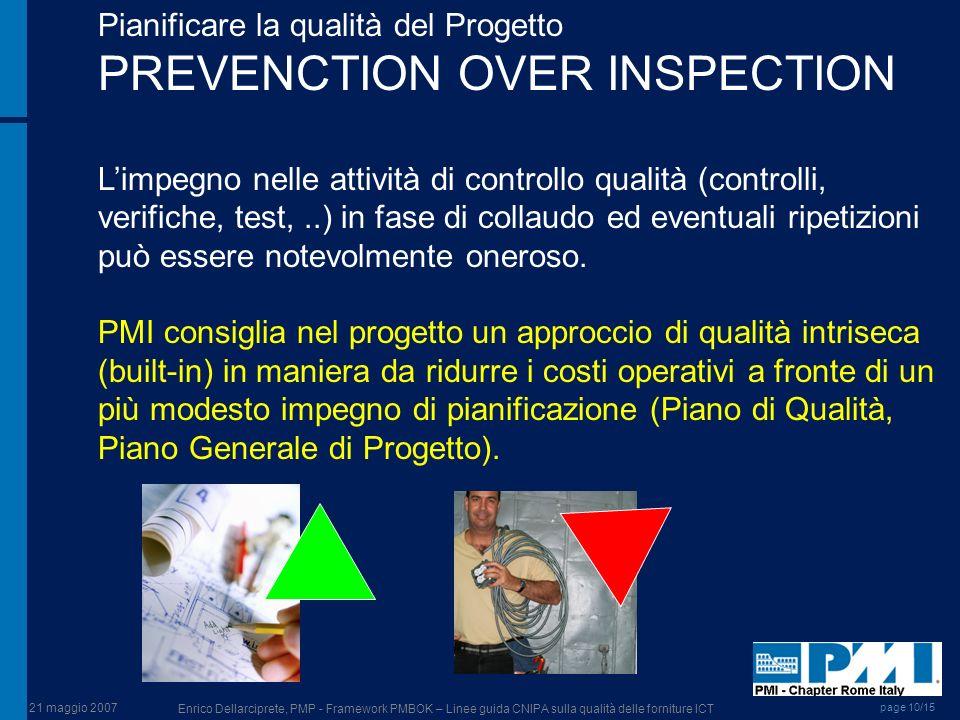 21 maggio 2007 Enrico Dellarciprete, PMP - Framework PMBOK – Linee guida CNIPA sulla qualità delle forniture ICT page 10/15 Pianificare la qualità del