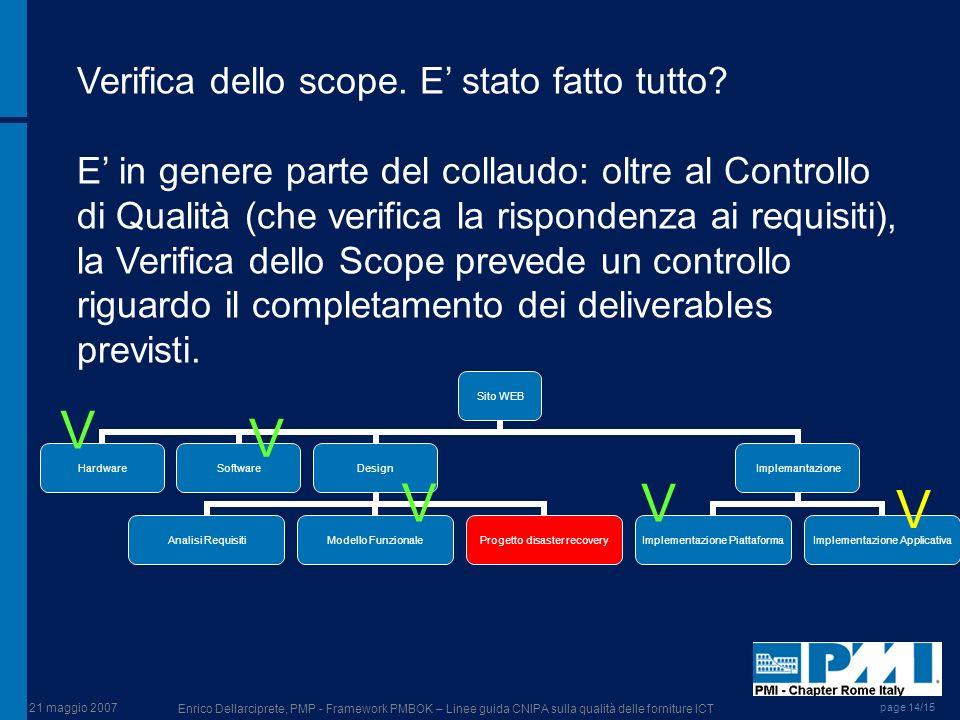 21 maggio 2007 Enrico Dellarciprete, PMP - Framework PMBOK – Linee guida CNIPA sulla qualità delle forniture ICT page 14/15 Verifica dello scope. E st