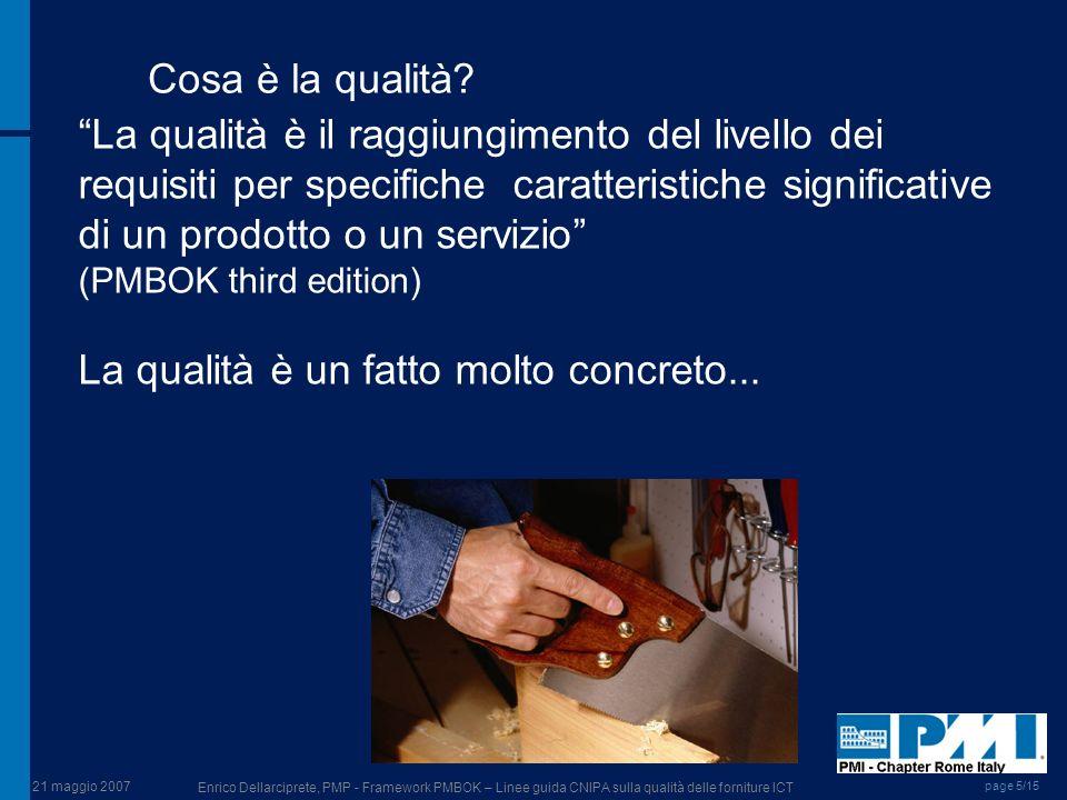 21 maggio 2007 Enrico Dellarciprete, PMP - Framework PMBOK – Linee guida CNIPA sulla qualità delle forniture ICT page 5/15 Cosa è la qualità? La quali