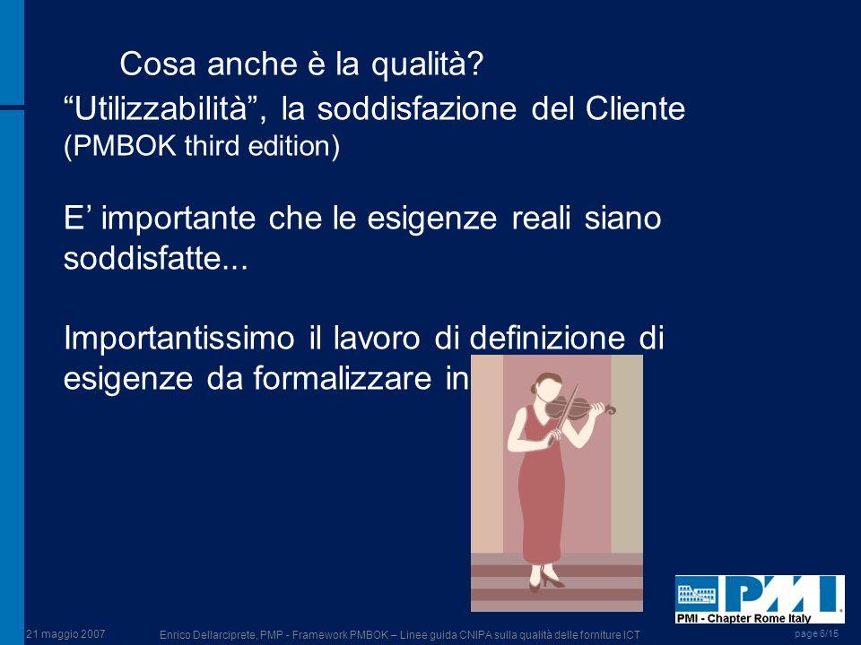 21 maggio 2007 Enrico Dellarciprete, PMP - Framework PMBOK – Linee guida CNIPA sulla qualità delle forniture ICT page 6/15 Cosa anche è la qualità? Ut