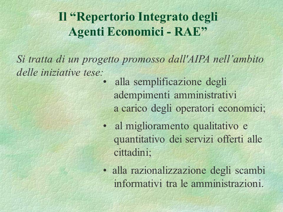 Si tratta di un progetto promosso dall'AIPA nellambito delle iniziative tese: Il Repertorio Integrato degli Agenti Economici - RAE alla semplificazion