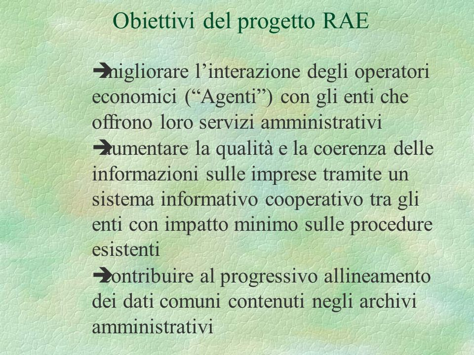 èmigliorare linterazione degli operatori economici (Agenti) con gli enti che offrono loro servizi amministrativi èaumentare la qualità e la coerenza d