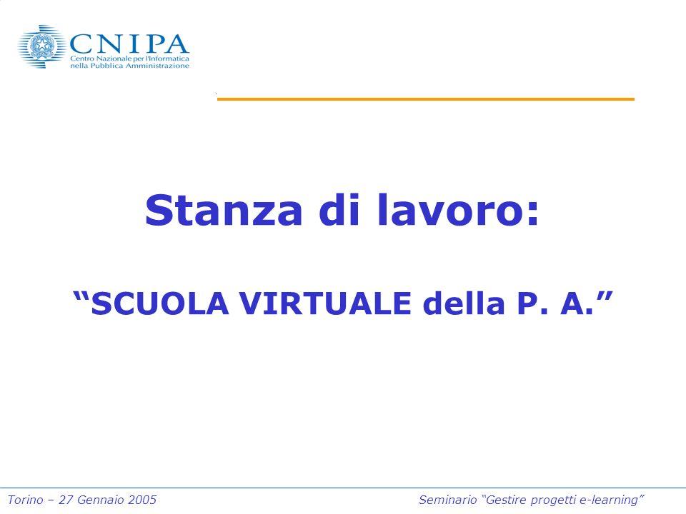 Torino – 27 Gennaio 2005Seminario Gestire progetti e-learning Stanza di lavoro: SCUOLA VIRTUALE della P. A.