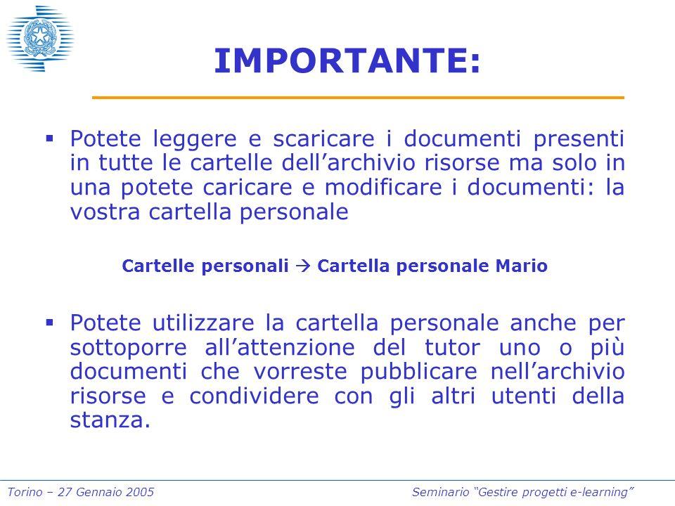 Torino – 27 Gennaio 2005Seminario Gestire progetti e-learning IMPORTANTE: Potete leggere e scaricare i documenti presenti in tutte le cartelle dellarc