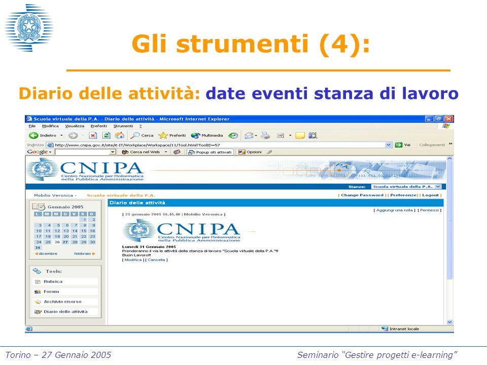 Torino – 27 Gennaio 2005Seminario Gestire progetti e-learning Gli strumenti (4): Diario delle attività: date eventi stanza di lavoro