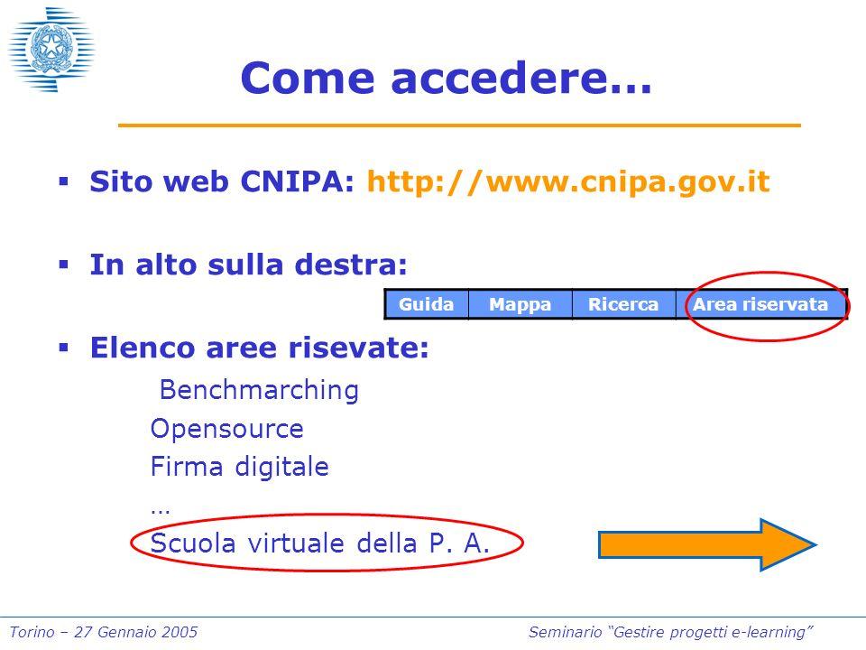 Torino – 27 Gennaio 2005Seminario Gestire progetti e-learning Come accedere… Sito web CNIPA: http://www.cnipa.gov.it In alto sulla destra: Elenco aree risevate: Benchmarching Opensource Firma digitale … Scuola virtuale della P.