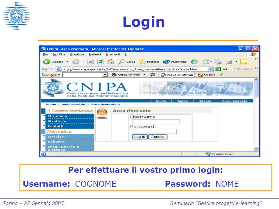 Torino – 27 Gennaio 2005Seminario Gestire progetti e-learning Login Per effettuare il vostro primo login: Username: COGNOME Password: NOME