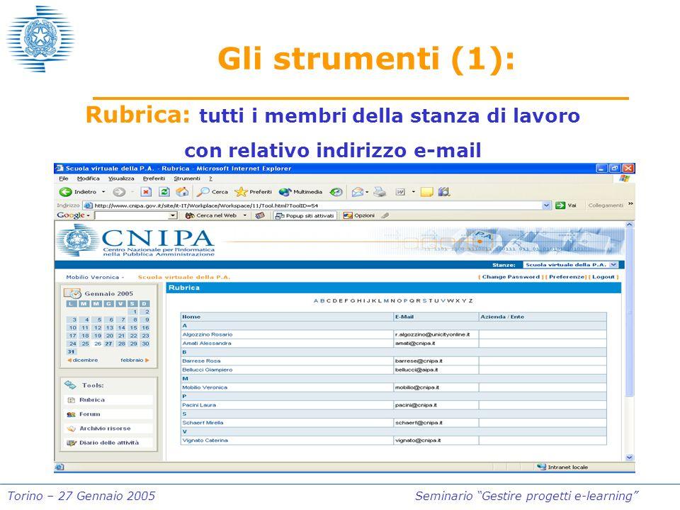 Torino – 27 Gennaio 2005Seminario Gestire progetti e-learning Gli strumenti (1): Rubrica: tutti i membri della stanza di lavoro con relativo indirizzo e-mail